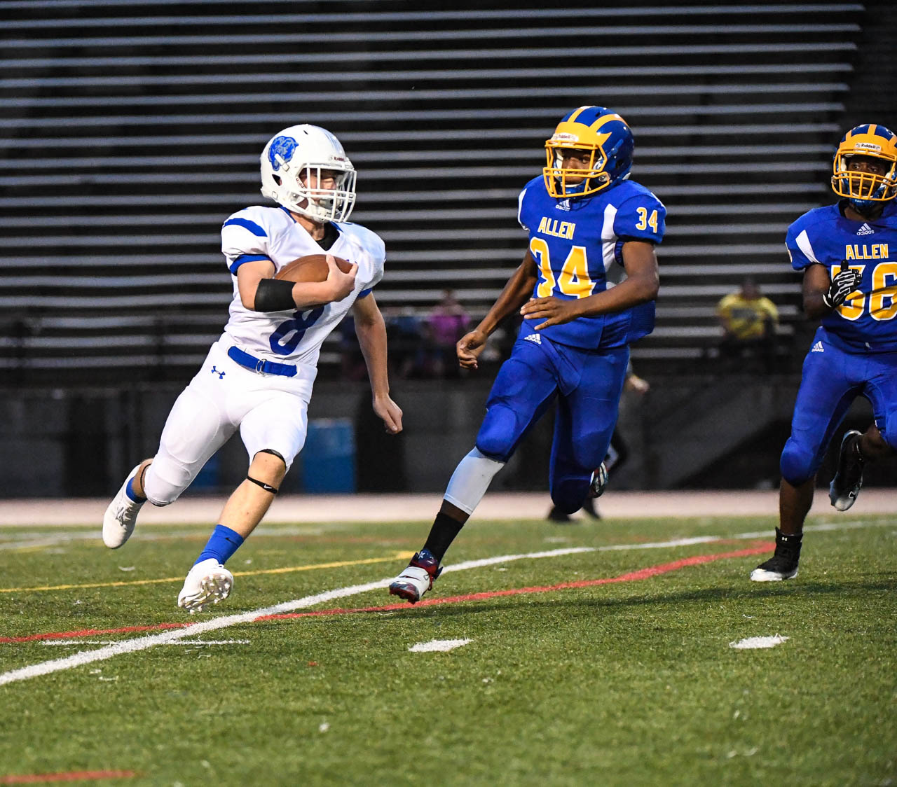 Christopher Tartamella gains yards against Allen in Allentown on Friday, August 31, 2018.
