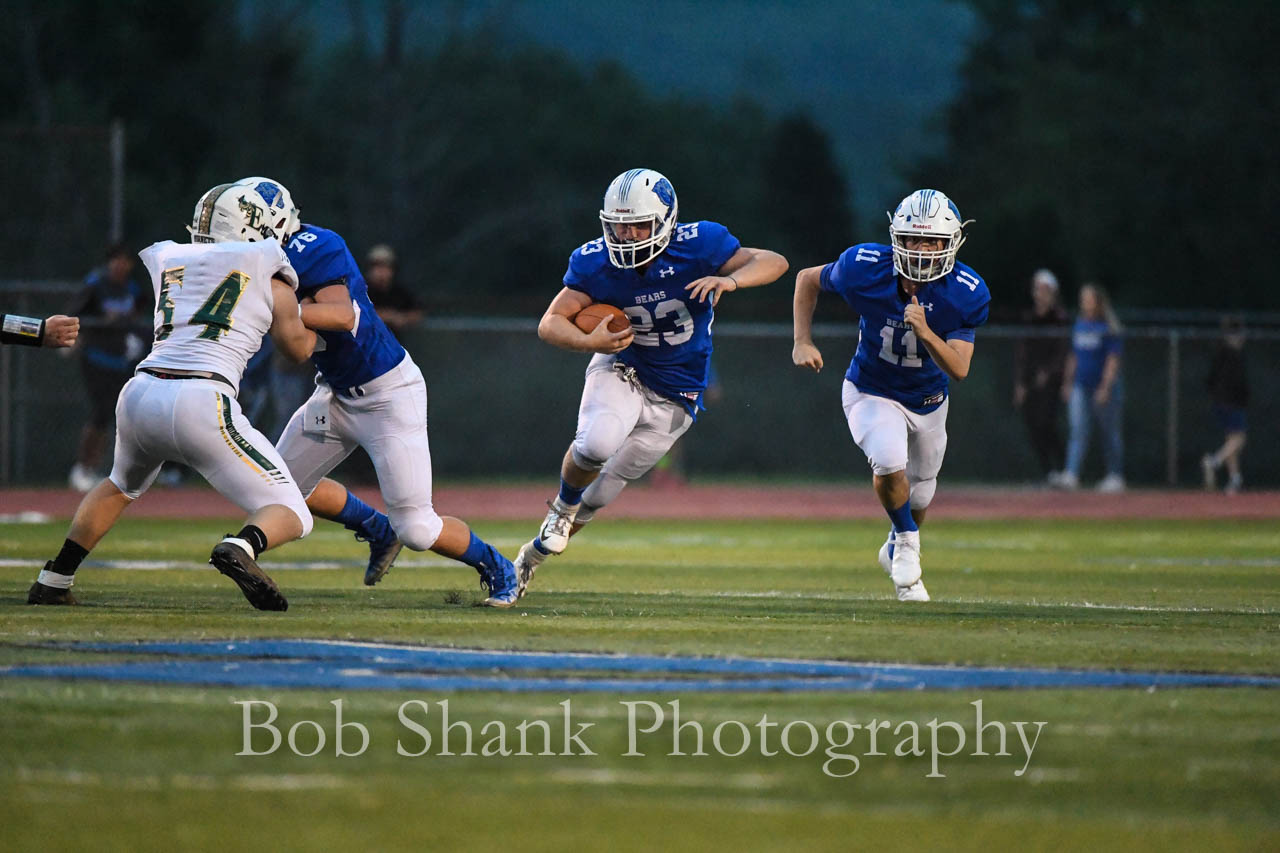 Gabe Masker runs wide against the Emmaus defense in Brodheadsville on Friday, September 14, 2018.