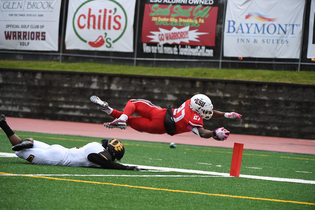 Devante Robinson soars past the pylon for a touchdown against Ohio Dominican on Saturday afternoon in East Stroudsburg.