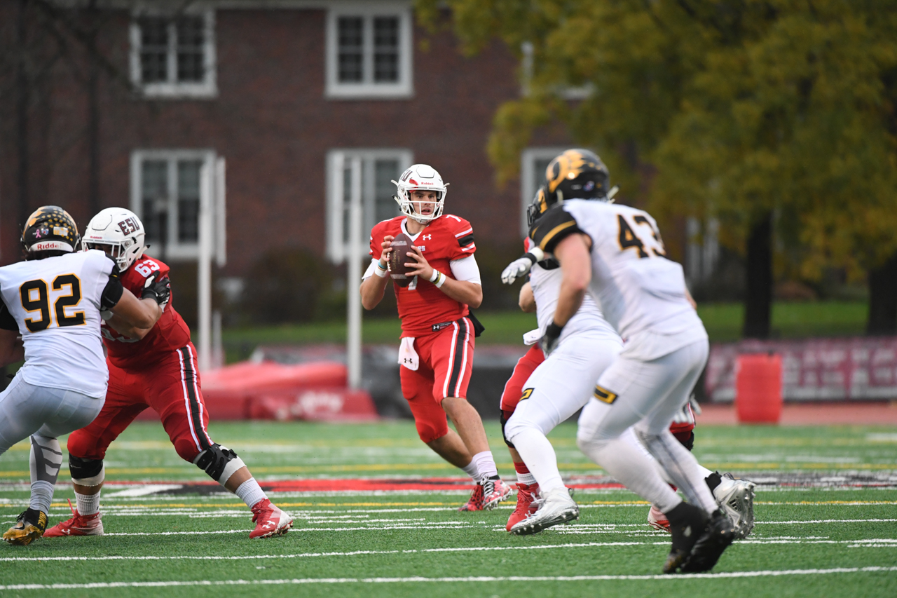 Jake Cirillo looks for an open receiver against Ohio Dominican on Saturday afternoon in East Stroudsburg.