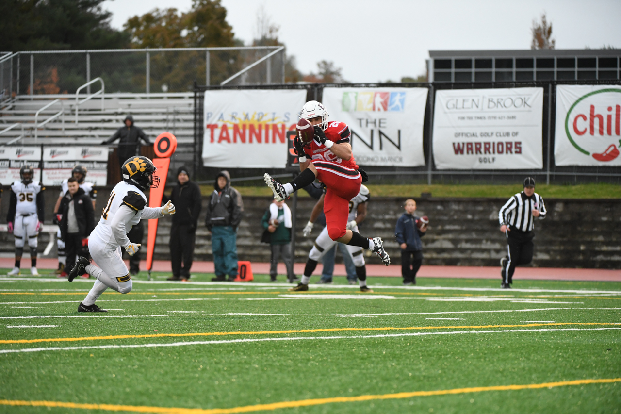 Gunner Anglovich makes a reception against Ohio Dominican on Saturday afternoon in East Stroudsburg.