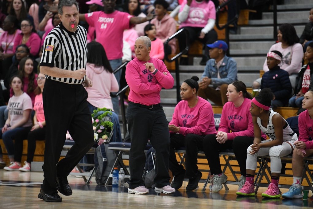 Interim Head Coach Chrissy Campos coaches the Panthers during the game in Pocono Summit on Friday, January 24, 2020.