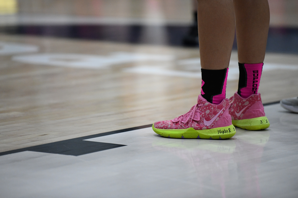 Pink shoes worn by a Panther player during a foul shot in Pocono Summit on Friday, January 24, 2020.